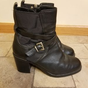 Vintage Zodiac Moto Black Leather Booties Easel 8